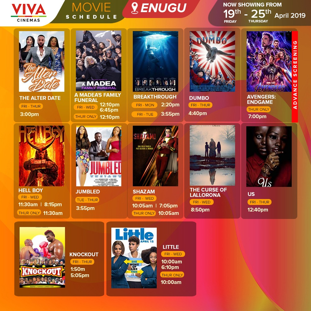VIVA Cinemas Movie Schedule (19th – 25th April 2019) | VIVA